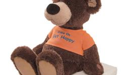 "Cassy is a cute, animated musical bear, that wears an orange t-shirt that says ""Come On Get Happy"". When you press his paw his mouth and feet move to ""Come On Get Happy"". He has an on/off switch, marked by a red note on his paw and includes 3 replaceable"