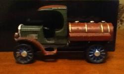 "Cast Iron Gas Tanker with Cast Wheels In Great shape 7"" height, weight 10 to 15 lb Neat Collectable"