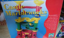 In excellent condition with its box and its Instruction sheet, but missing one ball and one level. consists of: 4 track pieces. 2 turrent pieces. 2 marbles. Pick up only.