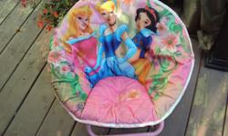 Disney CHARECTOR PATTERN ON THESE SAUCER CHAIRS THEY FOLD DOWN EASY AND TO CARRY GREAT FOR CHILREN AND VERY COMFY ONE IS GIRLS 10.00