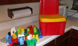 50 Pieces Mega (Maxi) Bloks in a Chair Container. Nice Chair to sit on and store the bloks in also. $15.00