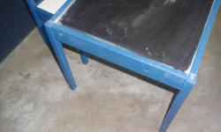 Cute blueberry blue chalkboard table with matching chair perfect for toddlers .