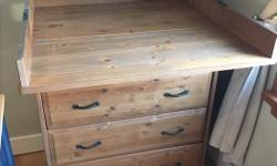 "3-drawer dresser with removable change table top. Dimensions: 30.75""w X 17.75""d X 44.5""h Located at DVP and Lawrence"