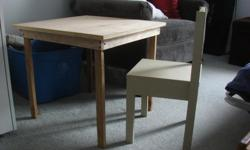 """Child's Wood Table and Chair home made great condition table top is 2'X2' and 21""""high paint it any colour!"""