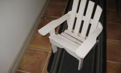 "Child's wooden lawn chair. hand made, solid construction. 21""h, 19""w and 13"" deep"