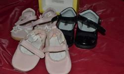 One pair gymboree (ballet slipper like) One black dress shoe and one other sandal type shoe.