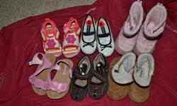 Includes the cutest pair of white with black spot shoes, winter boots by Joe, Brown shoes, ugg like slippers, please mum sandals.  All in great condition.