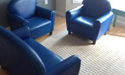 Blue heavy duty child size furniture. Excellent condition Two armchairs and one two seat sofa