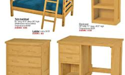 "Furniture manufactured in Ontario by Crave Designs. This suite is made of clear yellow pine with an oiled finish, and is in excellent condition. 1. Twin bunkbed: 81"" long, 42.5"" deep, 65"" high (mattresses not included) Original price $769, ASKING $385;"