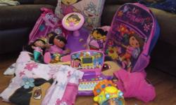 Hello I have various of item`s for sale if u r interested please contact 4 info!! Thanks  I`am willing 2 split item`s up if yr interested in a certain thing!! 1)Dora bedding,back pack,suit case,twister,pillow,computer game,talking dora ,fleece