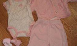 Children's Place/Baby Place co-ordinates 0-3 mos EUC Pink terry pants and hooded jacket, lined with polka dotted jersey. Jacket snaps closed. Short sleeved onesie in pink polka dot jersey. Preemie sized pink terry hat, with knotted top. 3 pairs of baby
