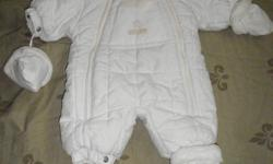 Children's Place one piece snowsuit- barely worn **All my items will be at the Mom2Mom sale at the Oxford Auditorium on October 29th** 0-3 months- $10 Ivory, double zipper front, snap attached mitts and booties that have a snap strap to keep from losing