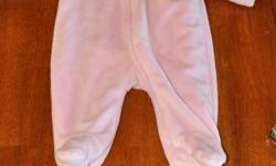 Soft pink Children's Place snowsuit.  Size 6-9 months. Very soft and cuddly.  I'm including the hat and mitts I bought for my daughter to wear with this snowsuit.  Very cute   Items from a smoke free home
