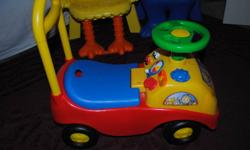 Kiddieland ride on car in excellent shape- $7 (sounds all work)   Little Tikes basketball hoop - $10   Barbie musical belt with microphone - $5   Princess doll carrier - $3   My First Dance Revolution (one of the boxes never opened)-$5 each   Little Tikes