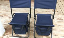 Like New - Awesome chairs for young kids Can set up as a chair or stool - Has insulated bag for food/drink - Has small compartment for misc. use. - Fold up and has straps to carry - Never used! Sell both for $50.00 or $25.00 each