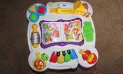I have for sale a childrens learning music table. Does colours, numbers, alphabet, shapes etc... in both english and spanish. It also plays music of different instruments. My daughter loves this toy.... we are just running out of room in her playroom as