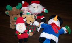 .50 each for each stuffie.  -Snowman -Santa -Chris Mouse -Christmas Moose -triangle Santa -puffy Santa