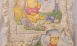 For sale is coordinating nursery decor all in classic Winnie the Pooh. The colours are very neutral in a pale beige background. It is all from the Hunny collection. I have bedding which includes crib bumper, crib skirt, comforter and fitted sheet. Also,