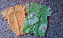 1st photo: 3-6mths 2nd photo: 6mths Smoke free home. $1.00 each except green outfit with hat which is $3.00 (brand new with tags)