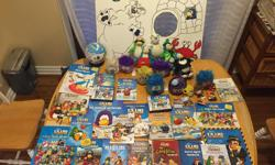 Lots of Club Penguin books, games, music, stuffies, key chains, a puzzle globe, and even a home-made poster board for Puffle Launch games. Great for parties!! Take home everything for ONLY 40.00. Great deal!!