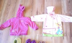 A winter coat (but not for the snow) the green one. (size3) A beautiful raincoat with a little girl and a dog on it. (size 2-3) A warm pink jacket (size3) A pink jacket (size3) One pair of red leather shoes (high quality) (size 24 or 8.5) One pair of warm