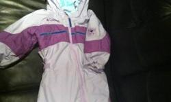 Selling a girls One Piece Snowsuit. Size 24 months. Light purple in color with dark purple accents. Adjustable waistband, very warm for our cold winters. In excellent condition. This ad was posted with the Kijiji Classifieds app.