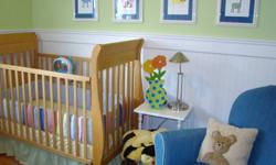 COMPLETE NURSERY Includes: Convertable Sleigh Crib (solid wood) Solid Wood Change Table (including wicker baskets and change table pad) Upholstered Dutailier Glider & Nursing Ottoman Pottery Barn Bedding (quilt, bumper pads, dust ruffle) Window