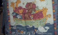 Noahs Ark complete bedding set includes Comforter Bumper Pads Crib Sheet Bed Skirt Window Valance in Baby blue didnt come with set but we used and it looked good! and Musical Mobile In excellent Condition $50 obo Can meet in belleville
