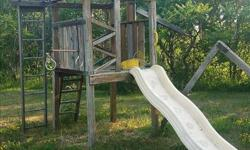 I am offering a complete play structure including slide, ladder, swings, rings, fort, etc.4x4 Cross beam for swings is broken. **You disassemble and remove with your own tools. ** First one HERE takes it.
