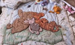 In this set there is the bumper pads, fitted sheet, comforter, mobile and lamp. This set is brand new almost. I had washed once to put in babies room but baby never slept in the crib. The mobile is in fantastic shape. The lamp has Winnie the pooh on it