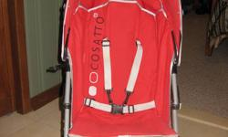 High End, Very Durable COSATTO Umbrella Stroller.    RED in colour.  Easy to manouvre- folds easily- great for travelling when space is limited. Will accomodate a pretty large child.  This particular stroller is pretty pricey brand new.  This one is in