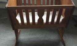 "Hand made, solid oak, rocking cradle 38"" x 26"" x 39"""