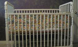 "Storkcraft Jenny Lind white crib with mattress; bumper pads, and fitted sheet ""ABC print"""