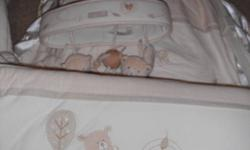 Selling Crib bumper, bedskirt and mobile. High quality, excellent condition- no stains/tears, etc. Used for one child.  Gender neutral colours and patterns.  Smoke free home.