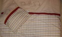 """I have a perlimpinpin crib bedding set including bumper pads, 2 sheets, crib skirt, comforter, crib mattress pad, window valance and pillow for sale.  In excellent condition.  Paid over $350 at """"A Special Time"""" Asking $50.  From smoke free home.  Neutral"""