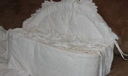 White eyelet lace baby crib bumper set.  Like new.  No stains.  Smoke and pet free home.  Asking $30 OBO