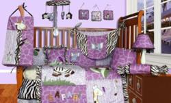 Paid over $250 new, my daughter wouldn't sleep in her crib so it is in perfect condition. Comes with the following: - Lamp shade - Two curtains - Bumper padding - Fitted sheet - Comforter - Crib skirt - 2 decorative pillows - 3 wall hangings - Diaper