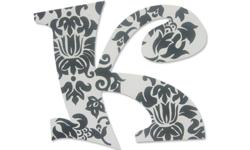 """This pattern can be done in an a variety of colors to match any room. Letters can also be done as high as 10"""" each. Ribbons or embedded pins for easy hanging are also included in the cost. I do offer lots of other patterns for both boys and girls if you"""