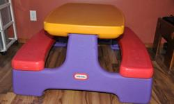 picnic table was used outside and in for crafting on. In good condition $35.00 potty seats $15.00 for all wall decor $15.00 for all