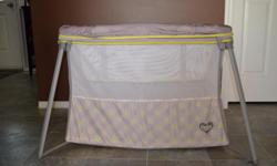 Portable playpen includes: Plush overstuffed mattress Lightweight frame Removable bassinet insert Easily collapses for convenience Easy set-up Recommended for children under 35 lbs unable to climb out This item was used a few times and comes from a