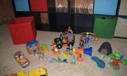 "This is a combined set of ""Go Diego Go"" items.  This contains an SUV set, a helicopter, a Speed boat, Duplo Lego blocks with instruction cards, and an animal voice translator.  A number of Diego figures in different Action Outfits and his animal friends."