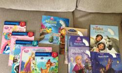 Various Disney books and read-along books with CDs. Read-along storybooks and CDs: - Tangled - Tangled Ever After - Frozen - Cinderalla - Beauty and the Beast - The Little Mermaid Books: - Bambi's Hide and Seek (Step 1) - Rapunzel and the Golden
