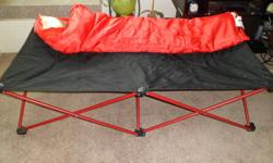 This cot is very easy to set up and take down...just folds down and folds back up, that is it! Great for sleepovers, camping, etc. - ages 3 and up - comes with removable slumber bag with built in pillow and is machine washable - comes with carrying case -