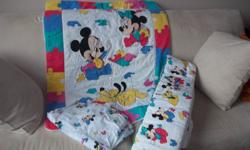 Nice Mickey and Minney Crib set includes comforter, sheets and bumper pad. New Baby Book by Hallmark never used (gift - already had one) As per pictures Pick up in whyte ridge Please see my other ads.