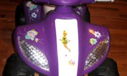 Disney Fairies 6 Volt Quad. In E.U.C Recommened Ages 3+. My daughter has had it since her first Birthday and is now 2. Still fits her good. She got a new one for Christmas and I don't have room for both. Brand New Battery installed (1 Month Old) Used only