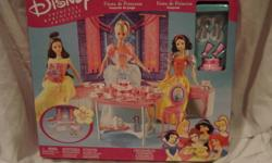 Great for Christmas. All items are new Prices as listed   Disney Princess party Play set- over 56 + pieces $20.00, regular $50.00 Disney Princess metal purse/case $10.00 Miniature Snow White and Ariel play sets $20.00 for both Disney Princess beaded