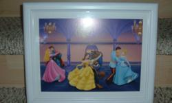 """3 DISNEY Princess dancing with princes. Great for every little girls bedroom. Measures approximately 16"""" length x 13"""" height. EXCELLENT CONDITION!"""