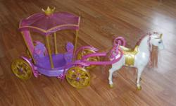 Disney Princess Sleeping Beauty Horse and Carriage for Barbie Dolls.  Plus an extra Princess Ariel Horse.