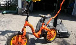 """Disney Tigger Kids' Bike features a high-tensile steel frame, 12"""" tires, single speed, rear coaster brake, low step-over frame with removable parent handle, and painted steel wheels with wheel discs. Bought new for $100.00. Used occasionally for 2"""