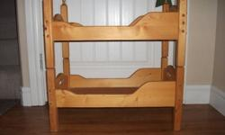 "Hi I have a wooden doll bunk bed for sale it's natural wood color could be painted or left natural.  It stacks so could be used as a bunk or two seperate beds. It's for18""-20"" dolls."